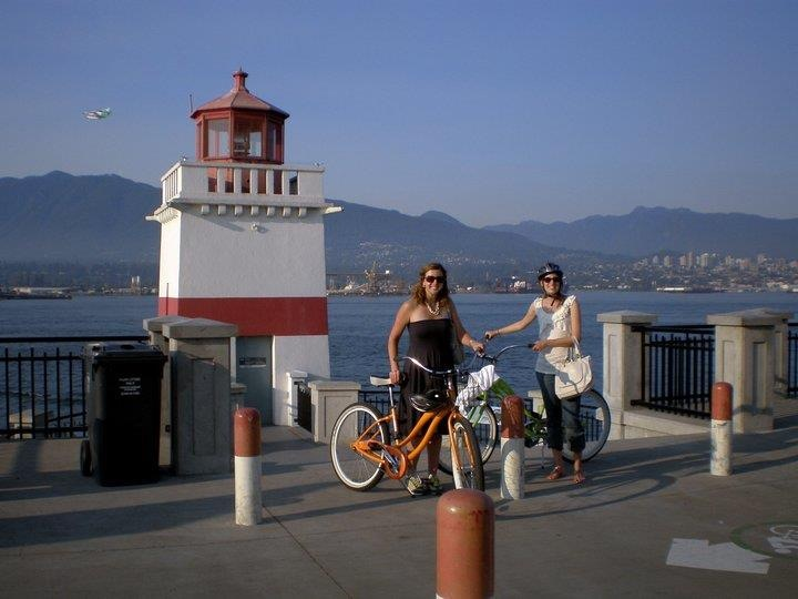 cycling around stanley park in vancouver (always wear a helmet)