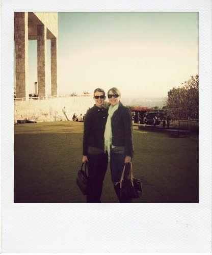 my friend, kate, and i on the lawn at the getty center a few years back