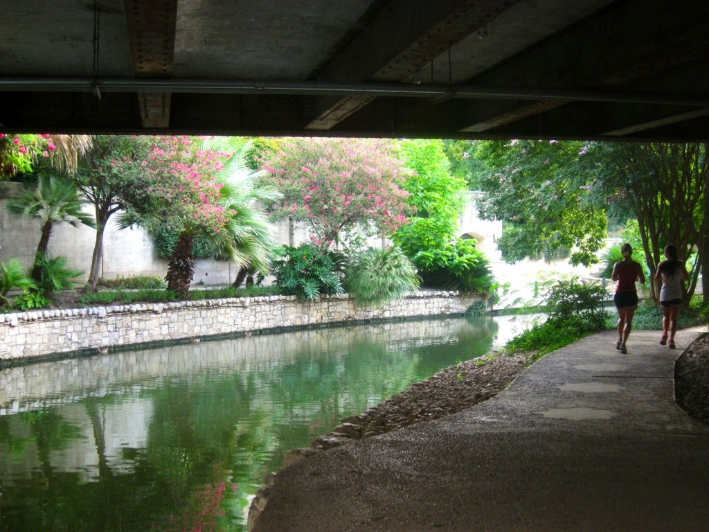 the northern - and more quiet - end of the san antonio riverwalk