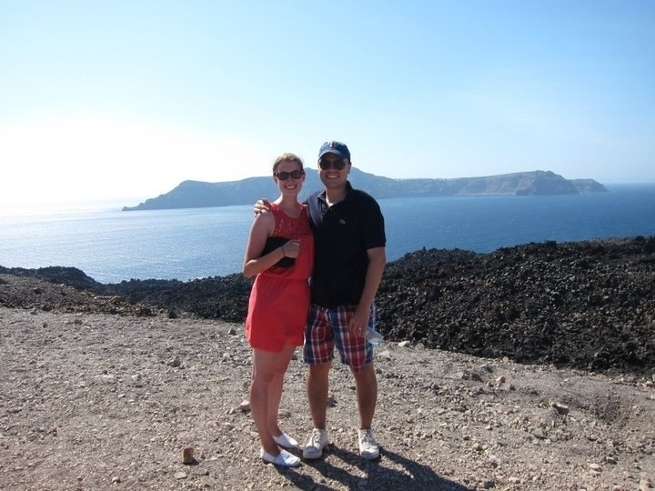 overlooking the caldera while hiking the santorini volcano
