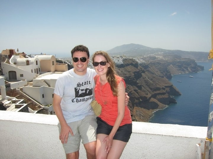 overlooking fira from imerovigli in santorini
