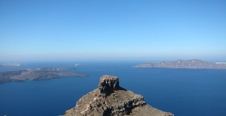 view of the santorini caldera from our balcony at astra suites