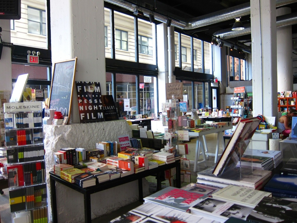 "powerHouse books in dumbo, brooklyn, where i purchased ""a week at the airport"" by alain de botton"