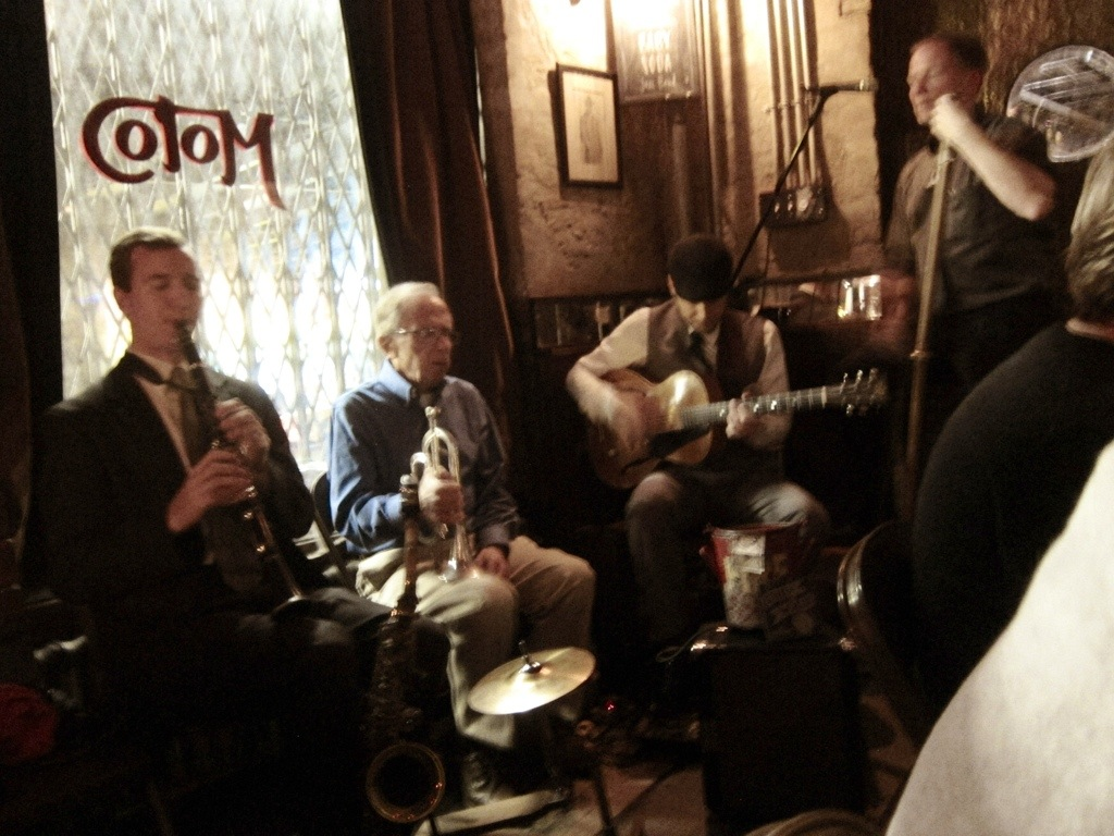 the baby soda jazz band playing in the delightfully intimate cafe moto