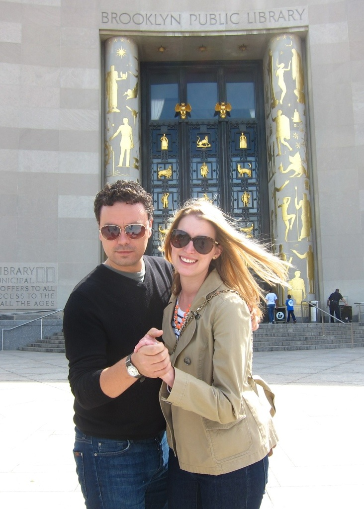 dancing in front of the majestic brooklyn public library