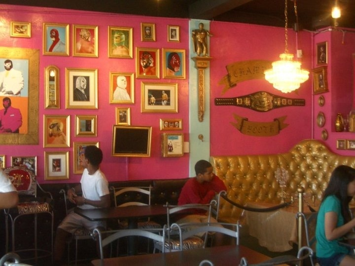 the dining room at lucha libre in san diego - crazy big burritos!