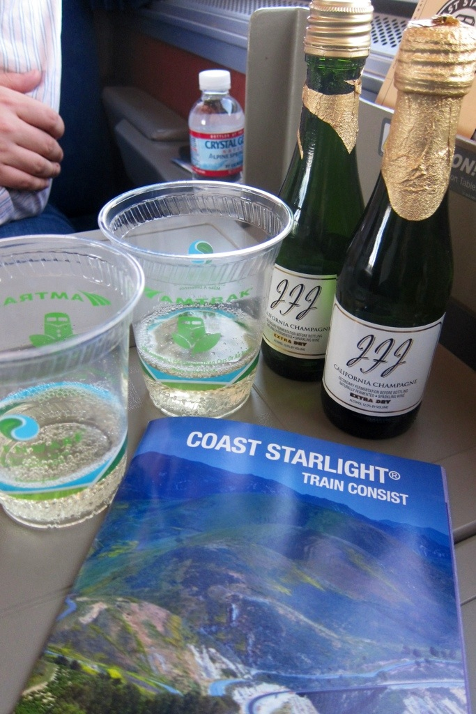 a champagne send-off on the coast starlight in los angeles. all aboard!