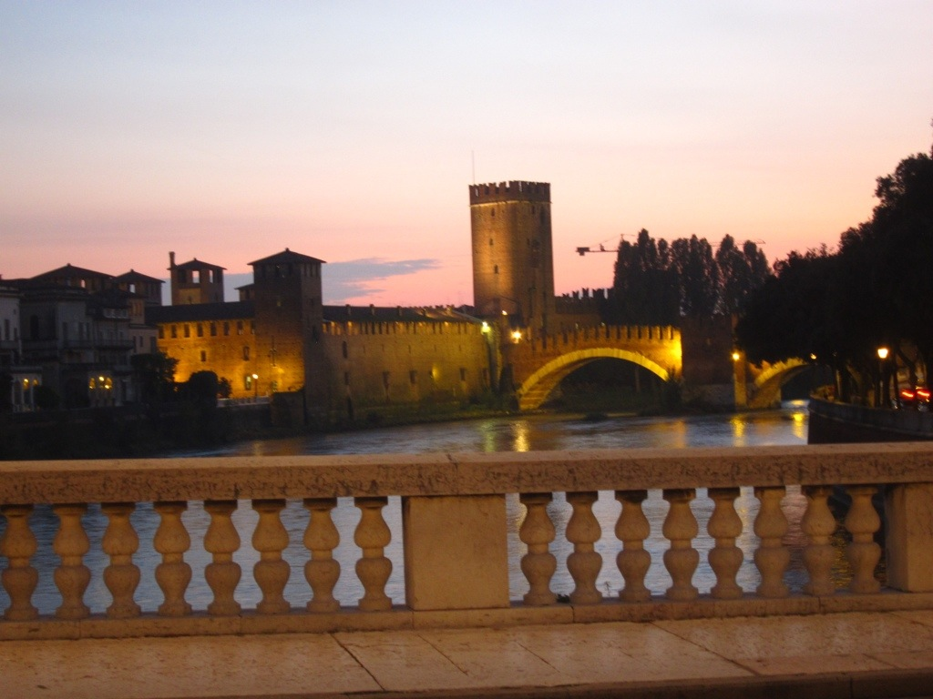 a quick photo of verona's castle bridge while walking back from our office to our hotel
