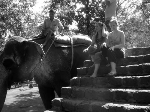 India- riding an elephant on my birthday!