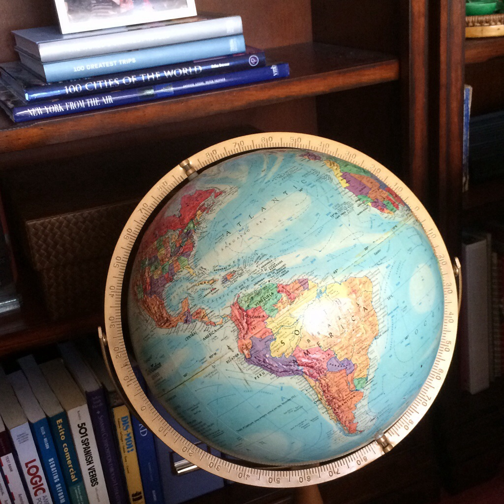 i purchased this globe at a garage sale in tulsa when i was in college. it may still have the USSR, but it's the first place i go when thinking of my next trip.