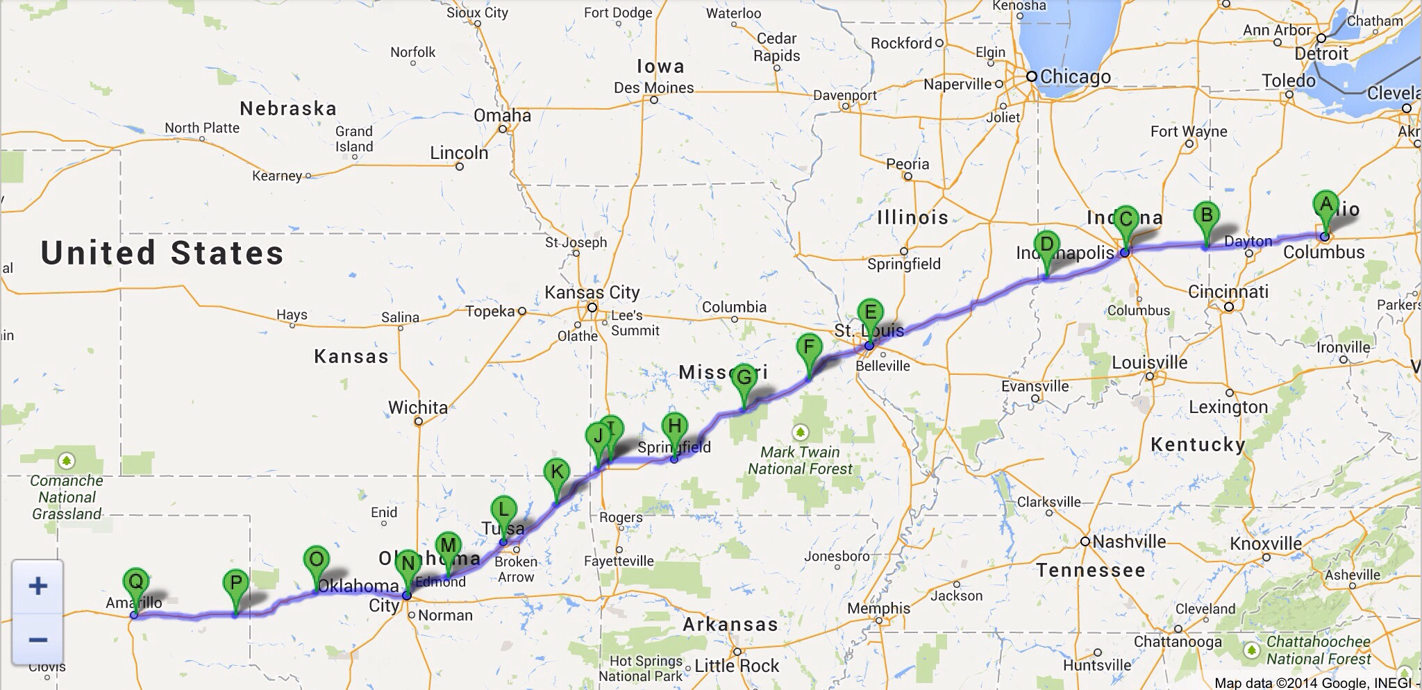 miss cleo's route from ohio to texas (as depicted on google maps)