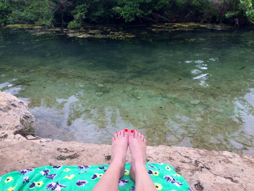 just relaxing at jacob's well in wimberley, texas