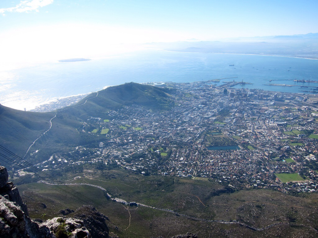 a view of the city bowl district from the top of table mountain; looking northwest toward the atlantic ocean.