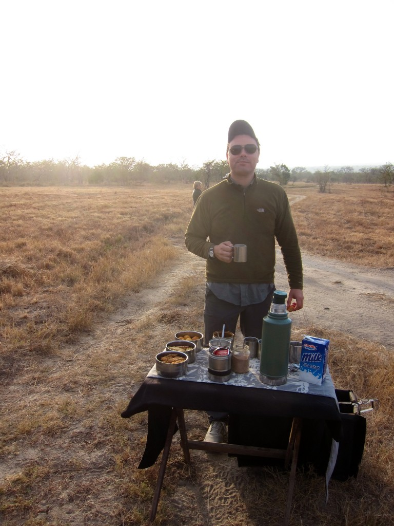 my husband stopping for morning coffee in the middle of the bush - not much protection here from a lion.