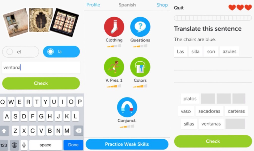 a few scenes from the easy-to-use duolingo app