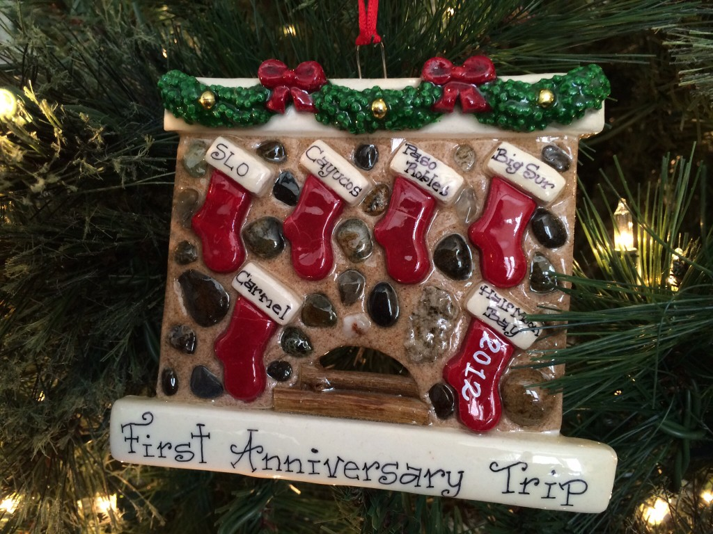 i love this ornament! it includes all (ok, most) of the places we visited on our first anniversary road trip: san luis obispo (SLO), cayucos, paso robles, big sur, carmel, and half moon bay.