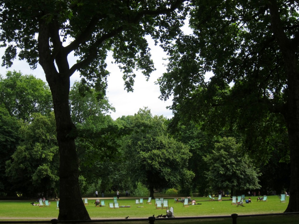 the famous green and white striped loungers in st. james's park