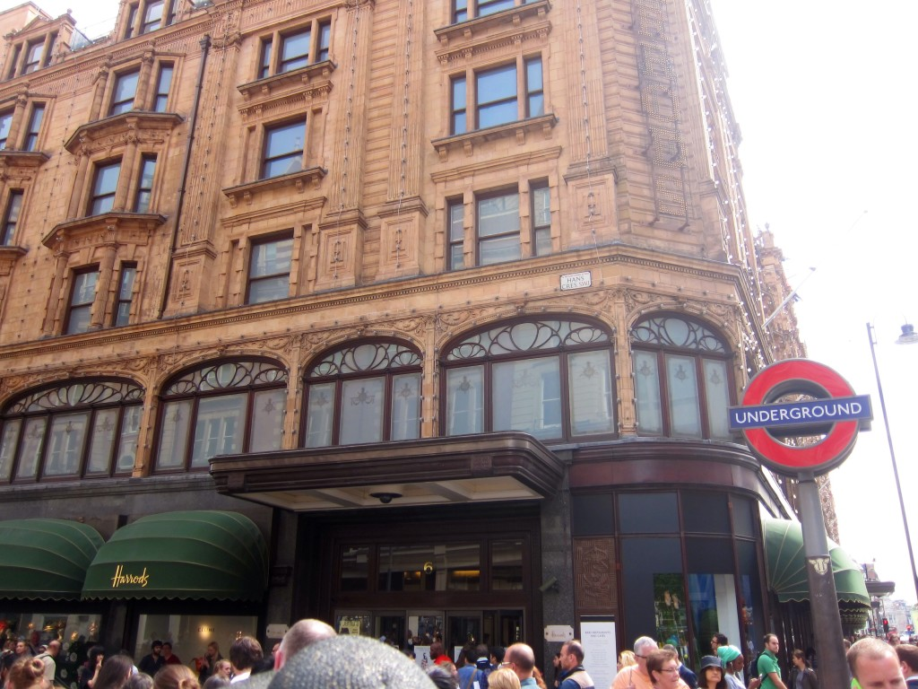 welcome to harrods. pass the people and head inside for the unbelievable food markets!