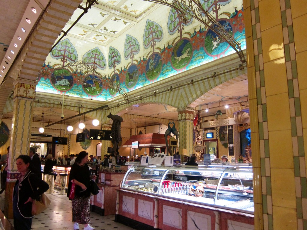 the sea market at harrods - fish, caviar, and an oyster bar in the back.