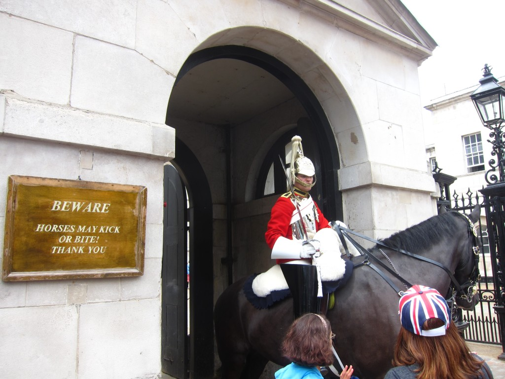 beware of the kicking/biting horses on horseguards avenue!