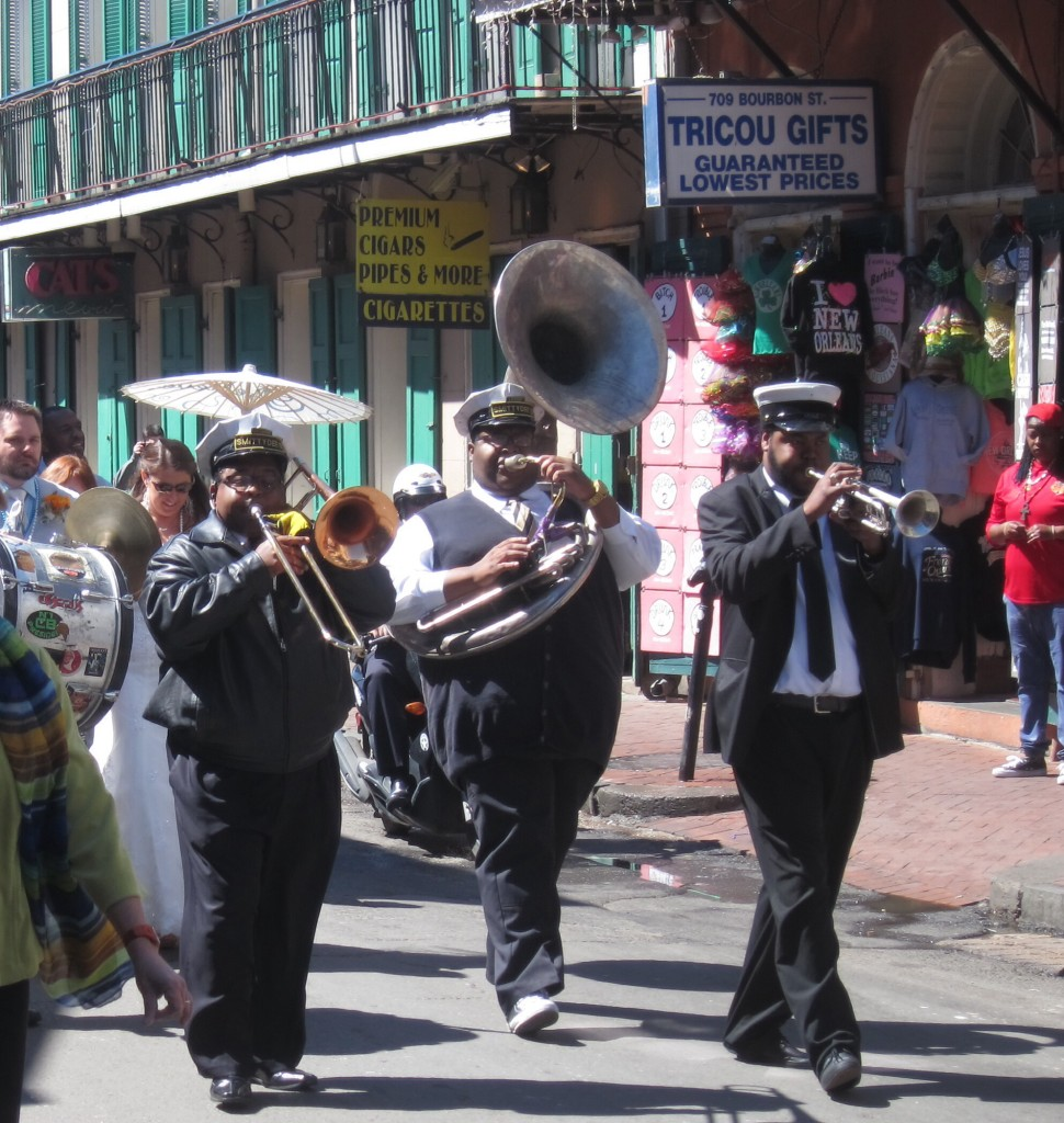 a second line wedding parade through the french quarter