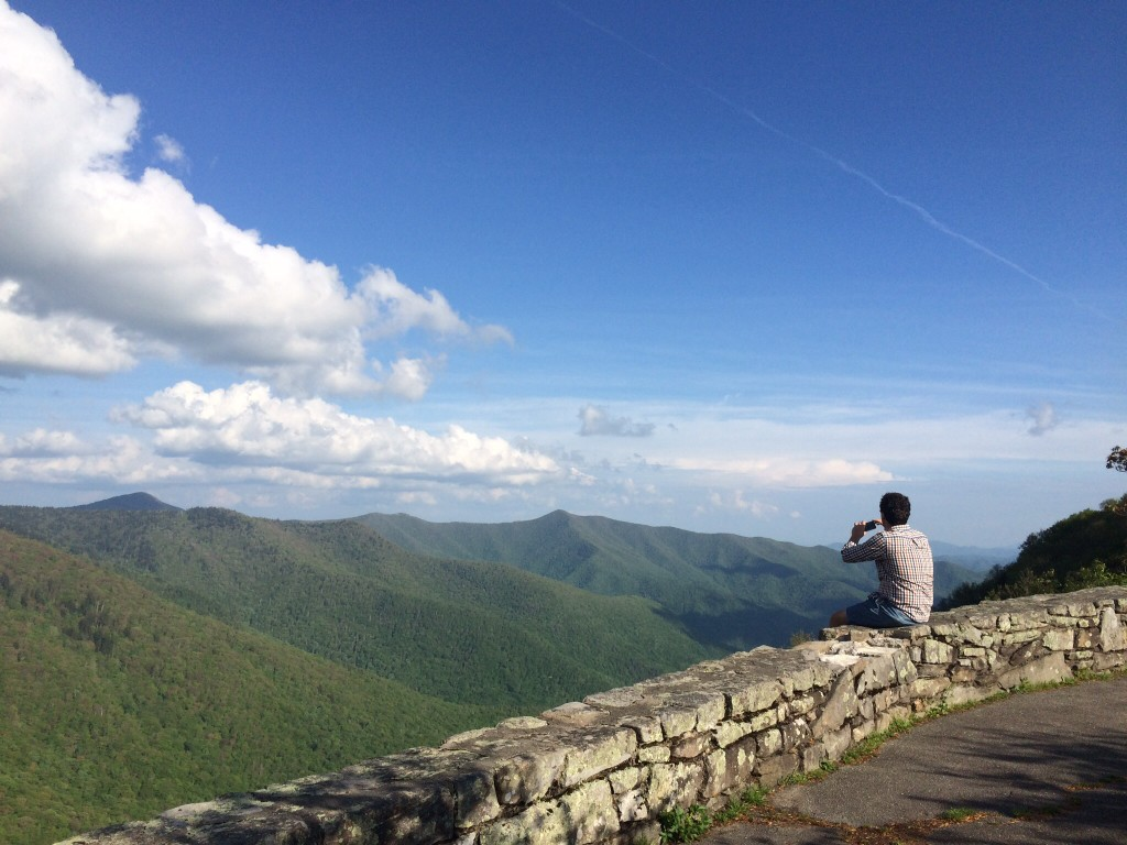 one of many stops for the breath-taking views along the blue ridge parkway.