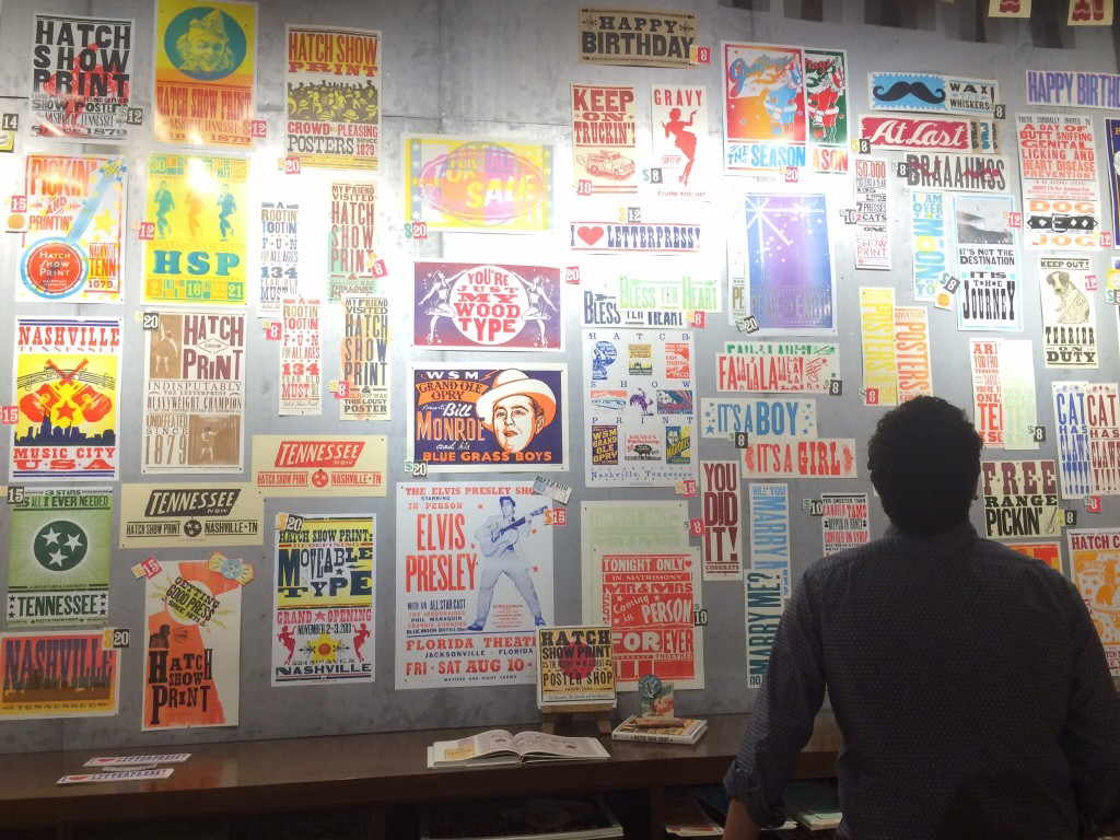 the gallery wall at the hatch show print shop, a local nashville institution