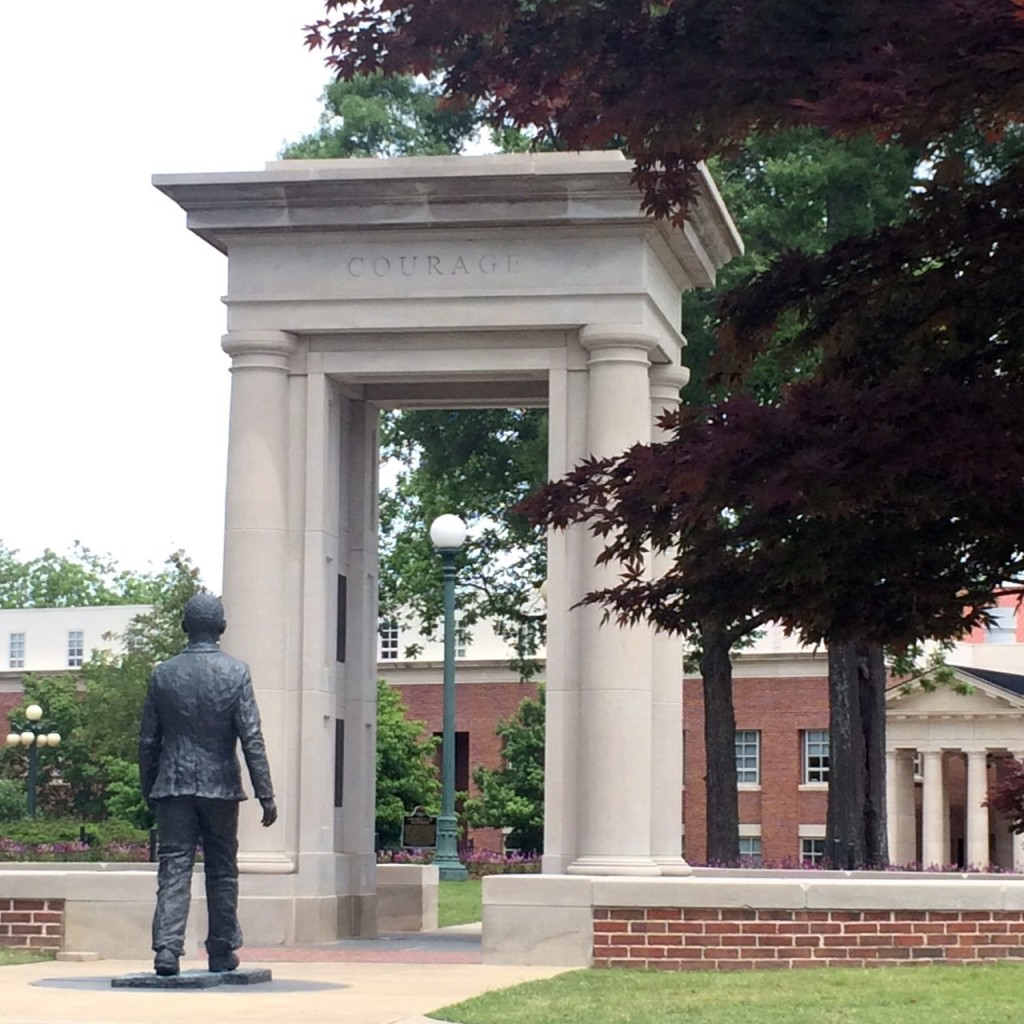 the statue of james meredith walking onto the campus of ole miss